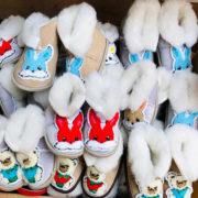 Детские чуни из овечьей шерсти Мишка