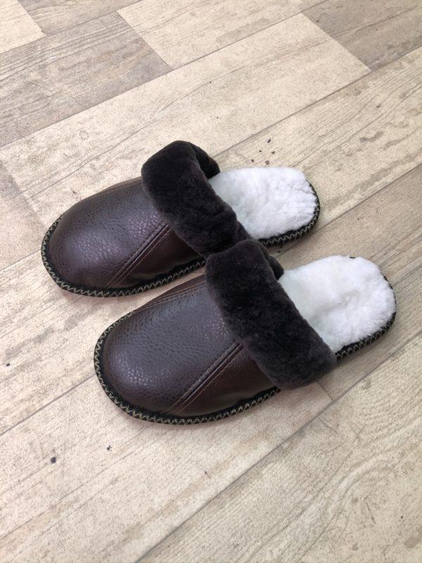 Кожаные тапочки без пятки дубленка